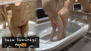 JAV  : HD Japanese teen shower sex and close up cleanup cock sucking  Suzu Sakuragi